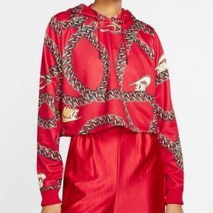 NWT NIKE red black icon clash crop top hoodie L